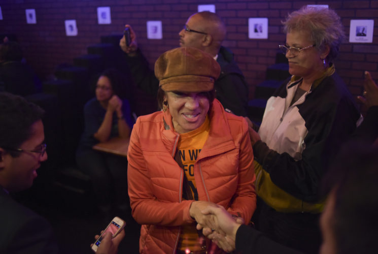 Mayor Karen Weaver shakes hands with supporters Tuesday, November 7, 2017 in downtown Flint. Incumbent Mayor Karen Weaver won the recall election with 54% of the vote. Mark Felix | Flint Beat