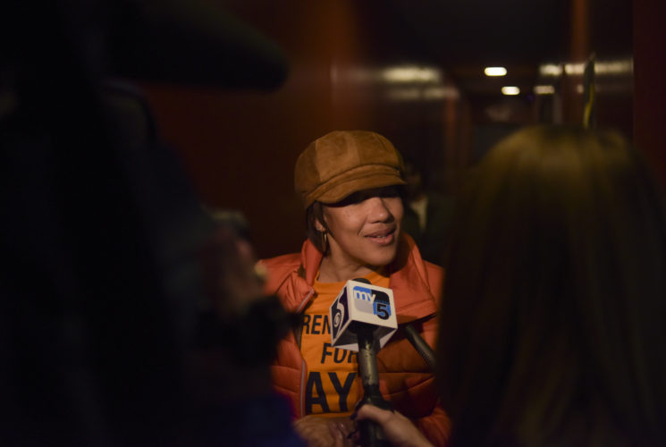 Mayor Karen Weaver talks to the media after her mayoral victory Tuesday, November 7, 2017 in downtown Flint. Incumbent Mayor Karen Weaver won the recall election with 54% of the vote. Mark Felix | Flint Beat
