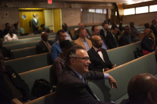 About 100 people packed Vernon Chapel AME Church on Flint's north side April 9, 2019 to hear Mayor Karen Weaver announce that she will be seeking re-election as Flint's leader. (Mark Felix | Flint Beat)
